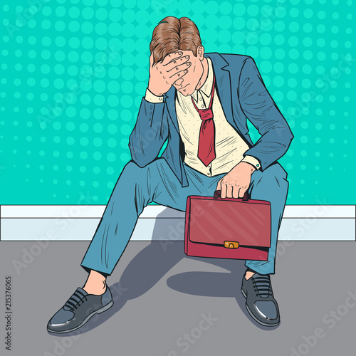 Pop Art Stressed Businessman Sitting on the Floor. Tired Disappointed Man. Despair Office Worker. Vector illustration