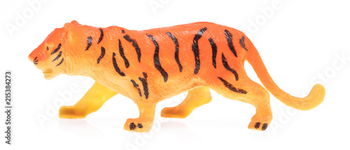 Plexiglas Panter toy plastic tiger isolated on white background