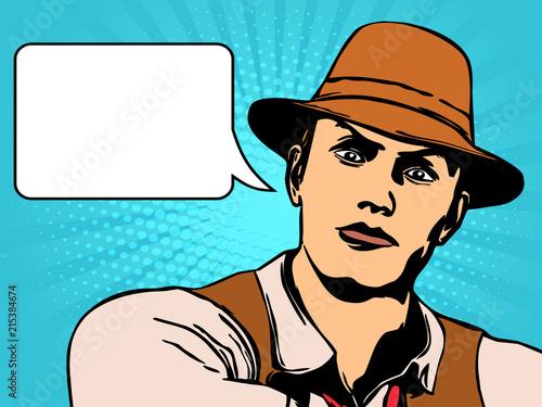Plexiglas Pop Art Man with hat