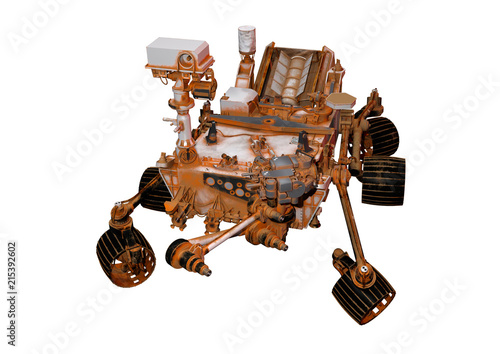 3D Rendering Mars Rover on White © photosvac