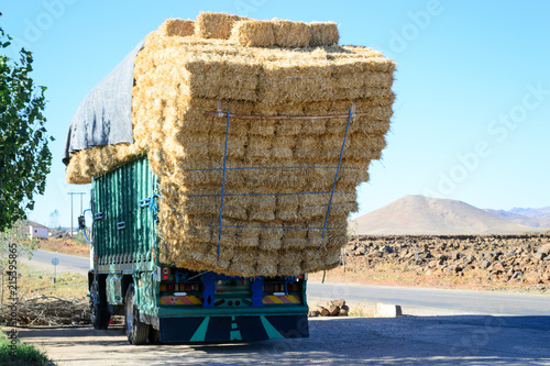 Canvas Marokko Heavy loaded truck with straw in Morocco