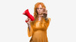 Leinwandbild Motiv Young redhead woman holding megaphone with open hand doing stop sign with serious and confident expression, defense gesture
