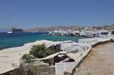 Nice Views Of The Little Venice Neighborhood & Cruise In The City Of Chora On The Island Of Mykonos. Art History Architecture. July 3, 2018. Chora, Mykonos Island, Greece. - 215411602