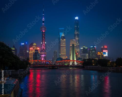 Foto Spatwand Shanghai Shanghai skyline at night