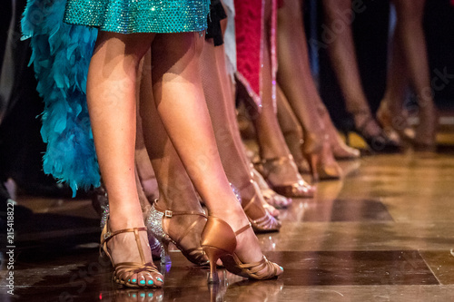 legs of woman dancing latin dance - 215418822