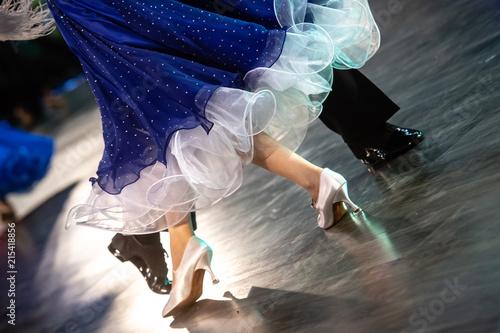closeup of ballroom dancers legs - 215418856