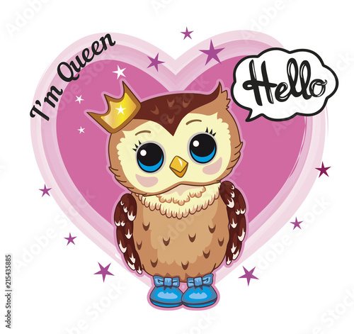 Fotobehang Uilen cartoon Cute owl with a crown. Children's illustration. Vector
