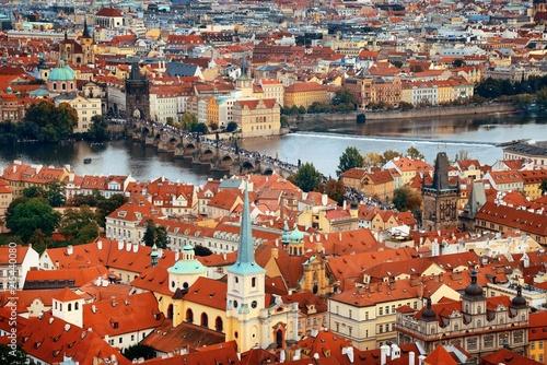 Prague skyline rooftop view