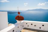 White architecture on Santorini island, Greece. - 215454882