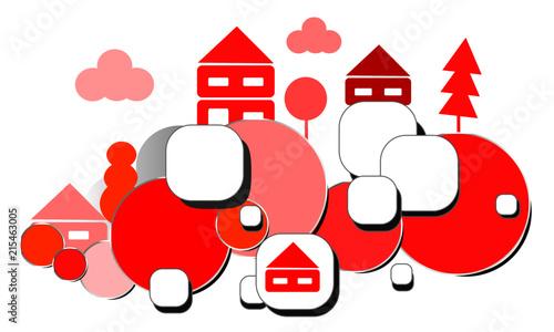 Canvas Wit Landschaft Rot Weihnachten Wolke Insel Dorf Stadt Hintergrund