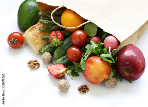 shopping package organic products - fruits and vegetables