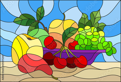 illustration-in-stained-glass-style-with-still-life-fruits-and-berries-in-purple-bowl-on-a-blue-background