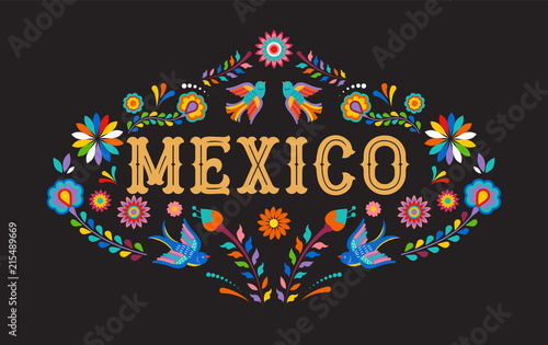 Mexico background, banner with colorful Mexican flowers, birds and elements - 215489669