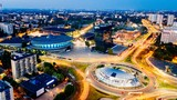 Aerial drone view on Katowice centre and roundabout at night. - 215491462
