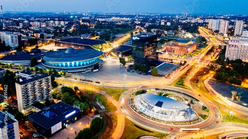 Fototapety, obrazy : Aerial drone view on Katowice centre and roundabout at night.