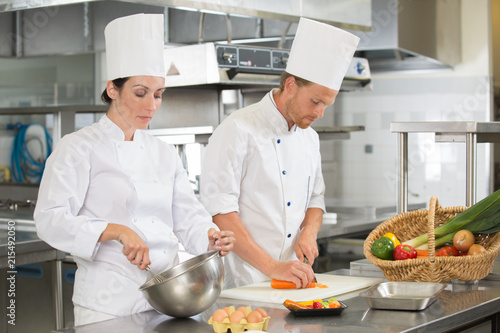 Fridge magnet man and woman chefs cooking food at restaurants kitchen