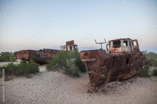 Aluminium Schipbreuk Rusty ships in Moynaq, Uzbekistan