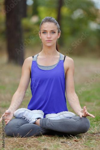 Sticker woman doing zen yoga position