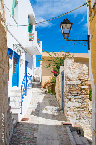 Paved narrow alley of Ano Syros in Syros island, Cyclades, Greece. Street view