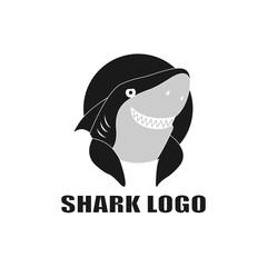 Sinister shark Smile vector illustration. Shark Logo. Icon