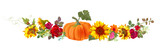 Horizontal autumn's border: orange pumpkin, sunflowers, red roses, gerbera daisy flowers, small green twigs on white background. Digital draw, illustration in watercolor style, panoramic view, vector - 215508639