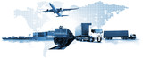 Transportation, import-export and logistics concept, container truck, ship in port and freight cargo plane in transport and import-export commercial logistic, shipping business industry - 215510458