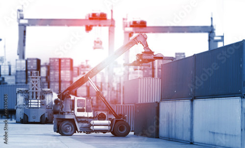 Fototapeta Transportation, import-export and logistics concept, container truck, ship in port and freight cargo plane in transport and import-export commercial logistic, shipping business industry