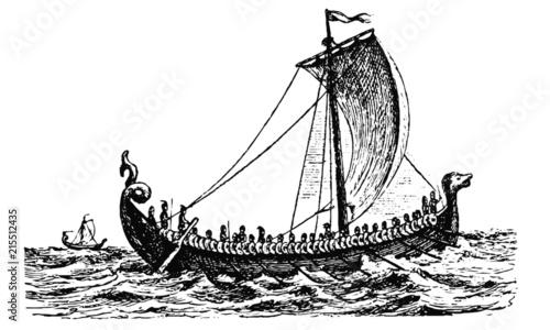 Fototapeta Vintage Viking Longboat Illustration