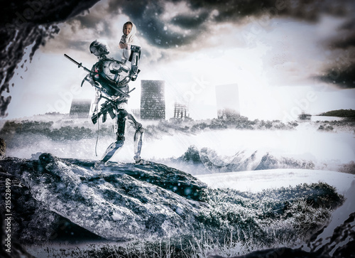 Foto Murales Illustration of a robot soldier saving a baby from war inside a futuristic and apocalyptic scene