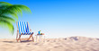 Leinwanddruck Bild - Leerer Strand mit Liegestuhl und Cocktail