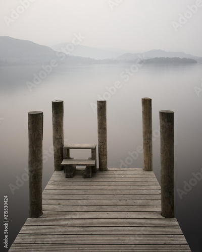 Aluminium Pier Derwentwater pier jetty mist fog sunset Lake District UK calm peaceful still relaxation mindfulness