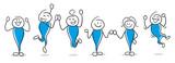 Stick Figure Series Blue / Happy - 215530837