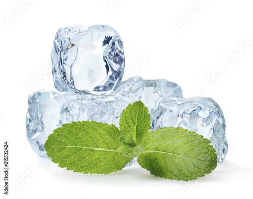 Foto Murales heap of blue ice cubes with twig of mint isolated on white background