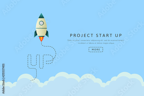 Fototapeta Project start up concept with rocket space ship. Vector illustration and banner in flat design.