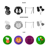 Elephant on the ball, circus lion, crossbeam, balls.Circus set collection icons in black, flat, monochrome style vector symbol stock illustration web.