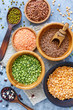 Green and yellow peas, mung and lentils in bowls.