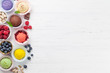 Leinwanddruck Bild - Ice cream with nuts and berries