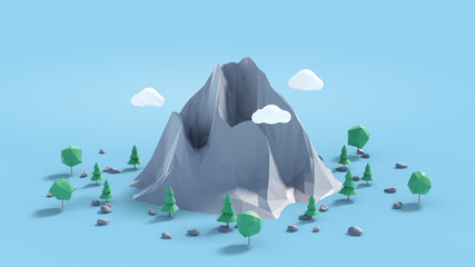 Low poly land scene with popup trees and rocks. © ouh_desire