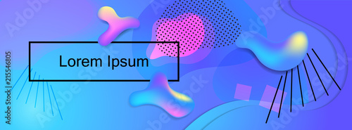 Blue and pink fluid colors vector banner for social media. Trendy violet abstraction with gradient and fluid colors. - 215546805