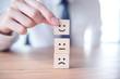 Leinwandbild Motiv Businessman showing rating with happy icon, Customer satisfaction survey concept