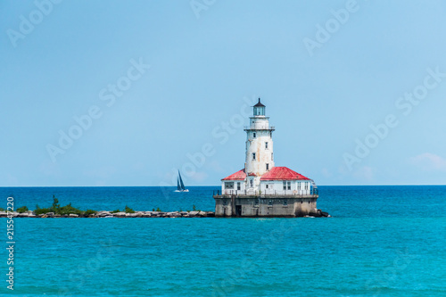 Foto Spatwand Chicago Chicago Lighthouse on Lake Michigan
