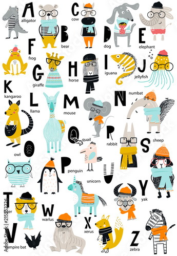 obraz PCV Cute vector zoo alphabet poster with latin letters and cartoon animals. Set of kids abc elements in scandinavian style