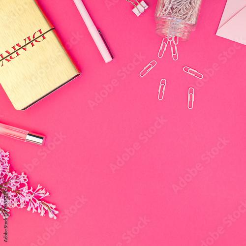 Styled pink feminine workspace flat lay - 215555224