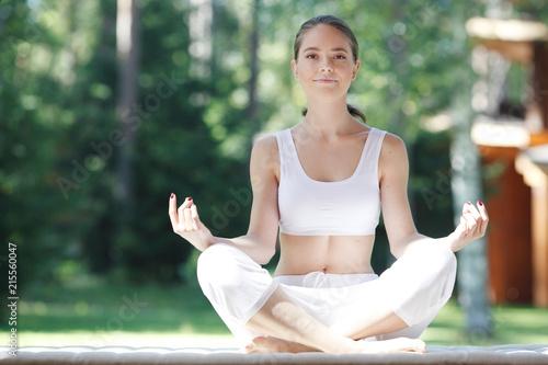 Sticker Yoga woman outdoor
