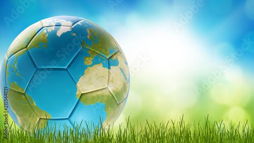 Leinwanddruck Bild soccer ball world earth design 3d-rendering