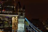 Fototapeta London - close up of Tower Bridge in London at night © offcaania