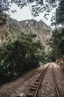 Train track through the jungle that leads from the Hidroelectrica plant to Aguas Calientes, that thousands of tourists walk along each week to get to Machu Picchu