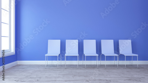 3D Row of chairs in contemporary Empty Room