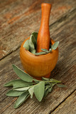 Common sage in wooden mortar  - 215578208