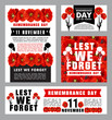 Remembrance Day memorial card of red poppy flower